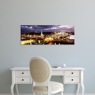 Easy Art Prints Panoramic Images's 'City lit up at night, Red Square, Kremlin, Moscow, Russia' Premium Canvas Art