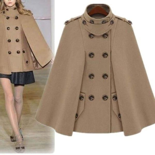 Women Wool Cape Coat Double Breasted Warm Jacket. Opens flyout.