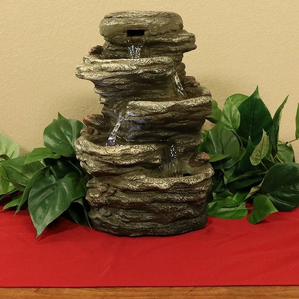 Sunnydaze Flat Rock 4 Tier Tabletop Water Fountain with LED Light - 11 Inch Tall