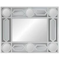 "29.5"" Geometric Openwork Matte White Decorative Rectangular Wall Mirror"