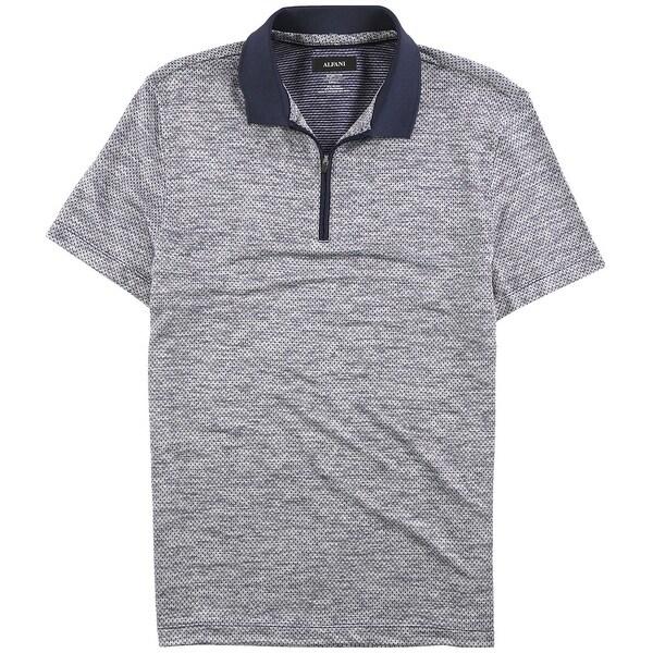 Alfani Mens Mush-Print Rugby Polo Shirt, Blue, Small. Opens flyout.