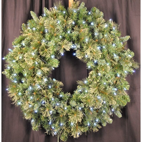 Christmas at Winterland WL-GWBM-04-LPW 4 Foot Pre-Lit Pure White LED Blended Pine Wreath Indoor / Outdoor - Pure White - N/A
