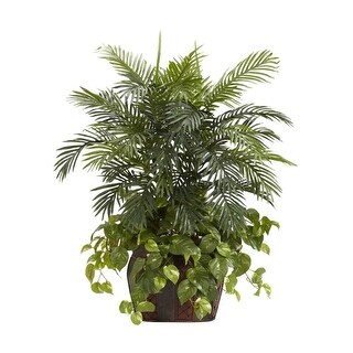Nearly Natural 3.5' Double Areca with Vase Arrangement - & Pothos Silk Plant Green