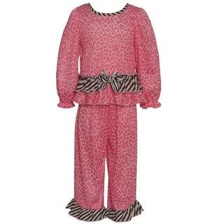 Laura Dare Little Girls Pink Leopard Print Zebra Ruffle 2 Pc Pajama Set 2-4T