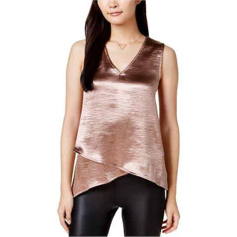 Bar Iii Womens Metallic Satin Shell Knit Blouse