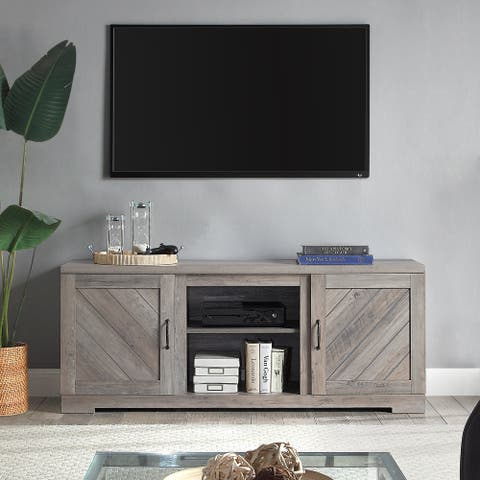 """BELLEZE 58"""" Barn Door TV Stand Console For TVs Up To 65"""", Grey Wash - standard"""