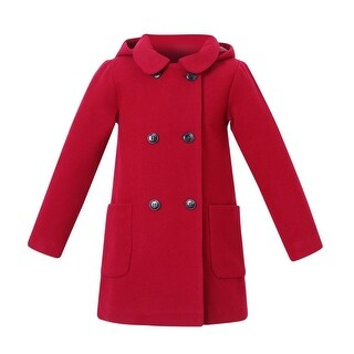 Richie House Little Girls Cherry Wool Double-Breasted Jacket