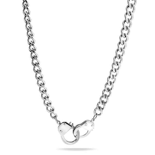 Bling jewelry secret shades curb chain handcuff pendant stainless bling jewelry secret shades curb chain handcuff pendant stainless steel necklace 20 inches aloadofball Image collections