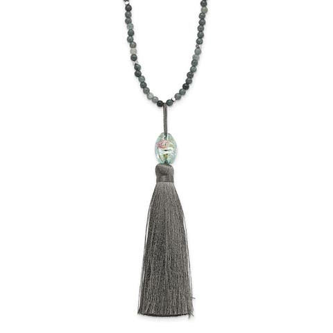 Sterling Silver Green Glass/Hematite/Grey Quartz w/Nylon Tassel Drop Necklace