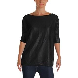 Lauren Ralph Lauren Womens Pullover Sweater Iridescent Shorts Sleeves