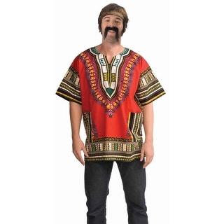 Red 60's Hippie Costume Dashiki Shirt Adult Size Standard
