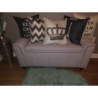 Shop Alden Tufted Fabric Armed Storage Ottoman Bench By