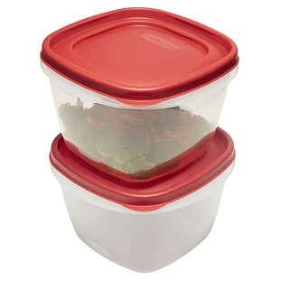 Rubbermaid Easy Find Lid Food Storage Container Set of 2 Containers, Red (7 Cup)