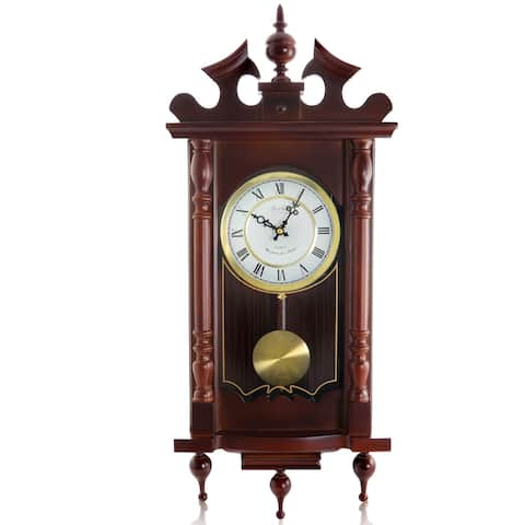 "Bedford Clock Collection Decorative 31"" Chiming Wall Clock w/ Pendulum"