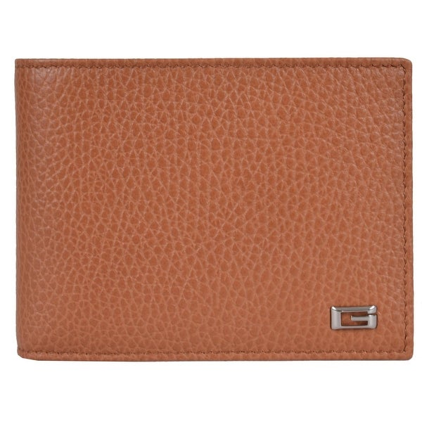 Gucci Men's 150403 Saffron Tan Leather G Logo Bifold Wallet W/Coin Pocket