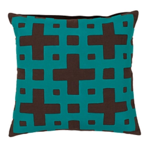 "20"" Ionic Flow Coffee Brown and Aruba Blue Decorative Square Throw Pillow"