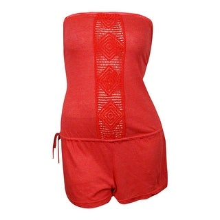 Lucky Brand Women's Dream Catcher Strapless Romper Swimsuit Cover
