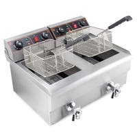 Arksen 2500W Stainless Steel Portable 20 Liter Dual Tank Electric Deep Fryer Fries, UL Listed