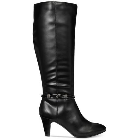 Karen Scott Womens Hollee Fabric Almond Toe Knee High Fashion Boots
