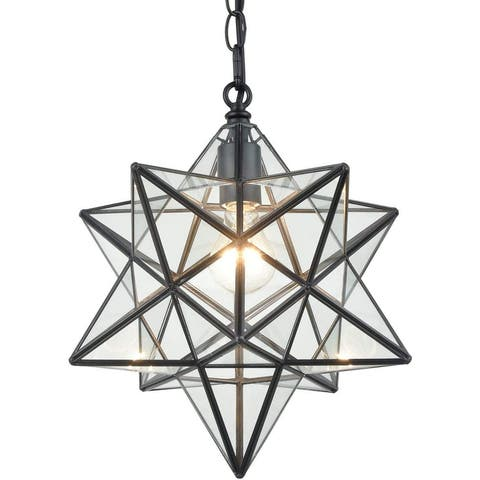 Arpino Modern Moravian Star Pendant Lights Clear Glass Shade, 16 inches
