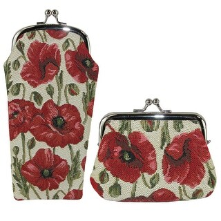 CTM® Women's Poppy Print Tapestry Glasses Case and Coin Purse Set - One size