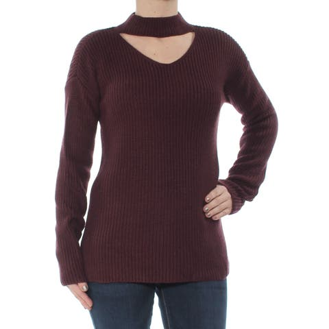 BAR III Womens Burgundy Choker Long Sleeve Sweater Size: XL