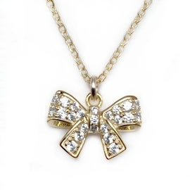 "Julieta Jewelry CZ Bow Gold Charm 16"" Necklace"