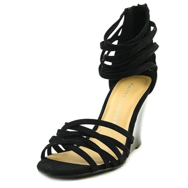 Chinese Laundry Caroline Women Open Toe Suede Black Wedge Sandal