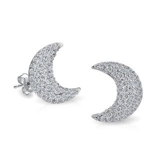 Bling Jewelry Pave CZ Stud Crescent Moon Earrings 925 Sterling Silver