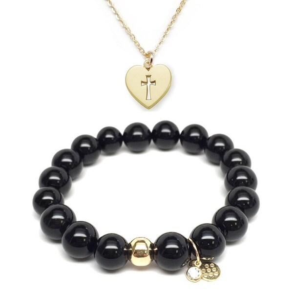 "Black Onyx 7"" Bracelet & Heart Cross Gold Charm Necklace Set"