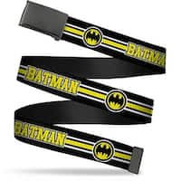 Blank Black Buckle Batman Bat Signal Triple Stripe Black White Yellow Web Belt