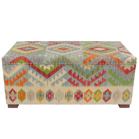 "Boho Chic Crook Blue/Red Kilim Upholstered Storage Settee - 48""x24""x21"""