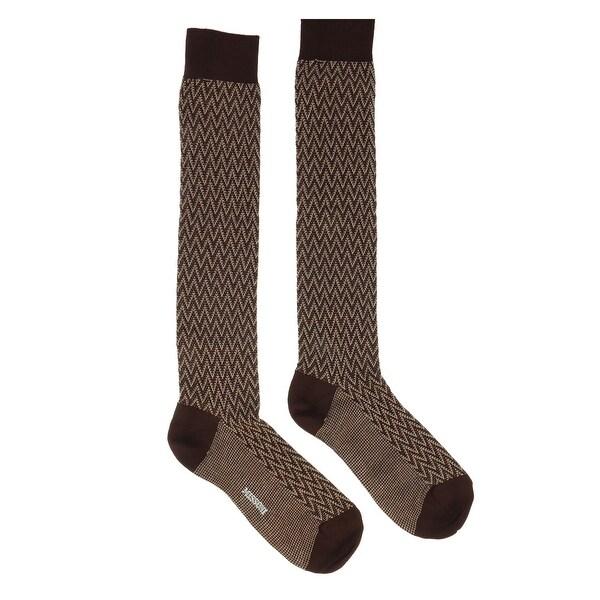 Missoni GM00CMU5240 0001 Brown/Cream Knee Length Socks - S