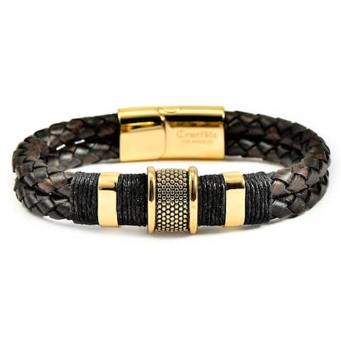 """Gold Plated Stainless Steel Beads Distressed Leather Bracelet - 8.5"""""""