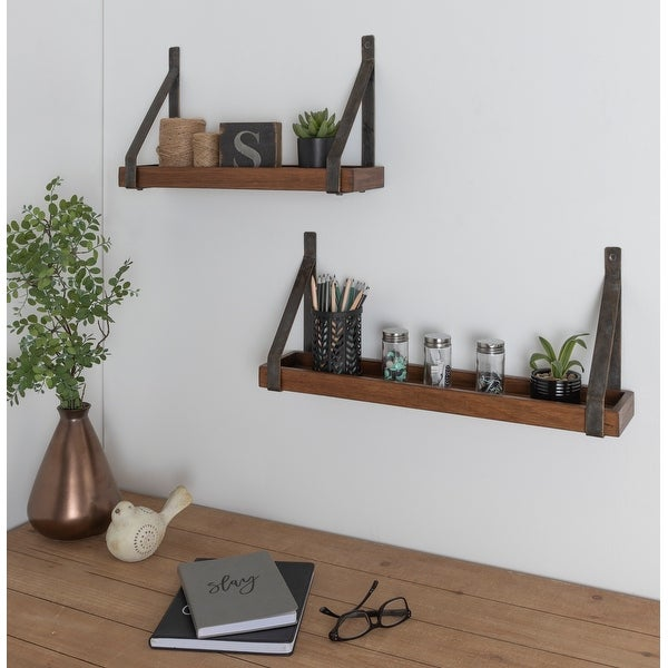 Kate and Laurel Sudbury Wood and Metal Wall Shelf Set - 2 Piece. Opens flyout.