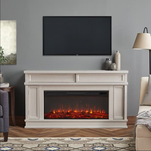 Torrey Electric Fireplace in Bone White