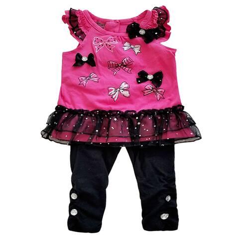 Fuchsia Black Sparkle Mesh Bow 2pc Top Leggings Outfit Baby Girls