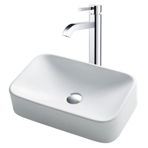 "Kraus C-KCV-122-1007 Bathroom Combo - 19-1/4"" Ceramic Vessel Bathroom"