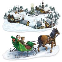 """Club Pack of 24 Christmas Holiday Village and Sleigh Ride Props 58"""" & 55"""""""
