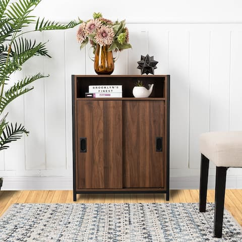 """Glitzhome 32""""H Wooden and Metal Floor Cabinet with Double Sliding Doors"""