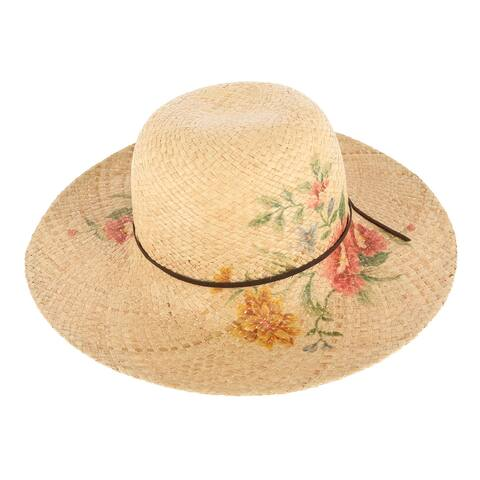 CTM® Women's Flower Print Sun Hat with Wide Brim - Natural
