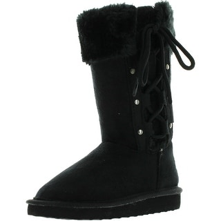 Link Girls Four Button Comfy Side Lace Faux Suede Boots