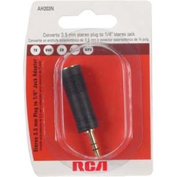 Audiovox AH203R RCA 3.5mm Plug to 1-4in Jack Adapter Black Black