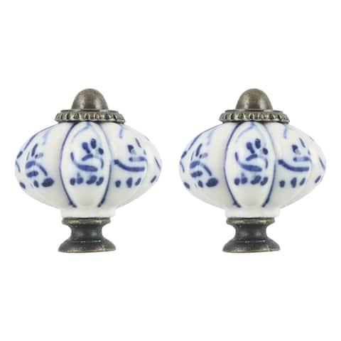 2pcs Ceramic Knobs Vintage Knob Drawer Round Pull Handle Furniture Cupboard Wardrobe Dresser Door Decorative, Blue