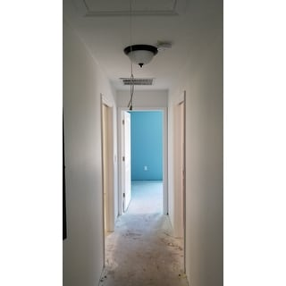 "Essentials 13.5"" Wide Iron Flush Mount Ceiling Light"