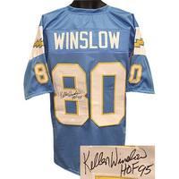 Kellen Winslow signed Light Blue TB Custom Stitched Pro Style Football Jersey HOF 95 XL JSA Hologra