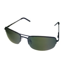 Levi Sunglass Mens Black Metal Rimless Aviator, Solid Green Lens LS180 2 - Medium