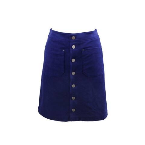 Inc International Concepts Blue Faux-Suede Button-Down Skirt 16
