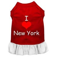 I Heart New York Screen Print Dress Red with White XXL (18)