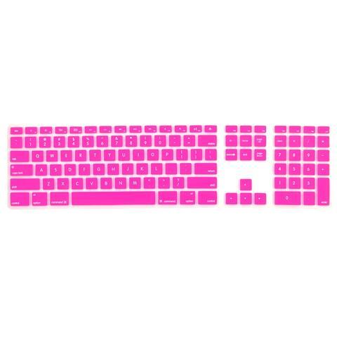 Unique BargainsSilicone Wire Keyboard Protector Cover w Numeric Keypad Fuchsia for Apple iMac